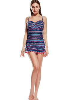 Trendy Striped Print Falbala One Piece Swimwear