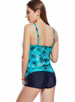Plus Size Print Sheath Patchwork One Piece Swimwear