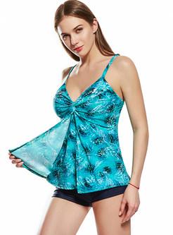 Plus Size Print Sheath Patchwork One Piece Swimwear