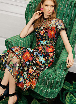 Ethnic O-neck Short Sleeve Mesh Embroidered Dress