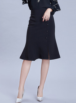 Fashion High Waist Single-breasted Slit Sheath Skirt