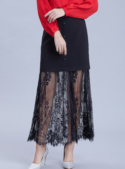 Sexy Lace Perspective Splicing Zippered Maxi Skirt