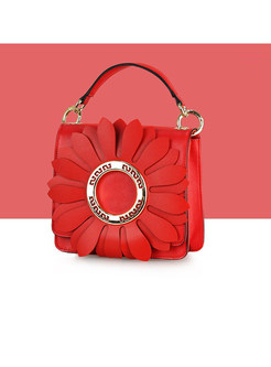 Stylish Red Sunflower Top Handle & Crossbody Bag