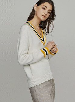 Color-blocked V-neck Long Sleeve Pullover Sweater