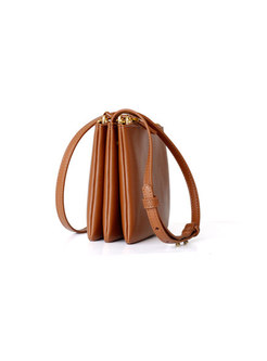 Fashion Accordion-shape Genuine Leather Crossbody Bag