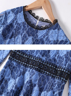 O-neck High Waisted Openwork Midi Dress