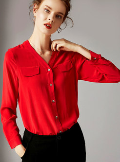Fashion V-neck Long Sleeve Buttoned Silk Blouse