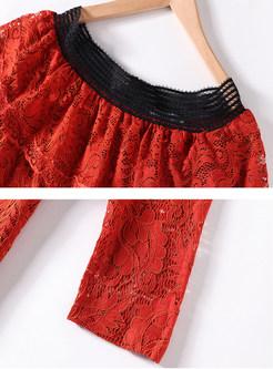 Color-blocked Slash Neck Falbala Splicing Lace Dress