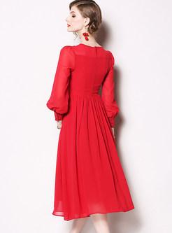 Elegant O-neck Lantern Sleeve Chiffon Big Hem Dress