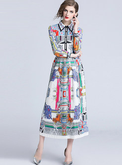Court Lapel Location Print Waist Pleated Maxi Dress