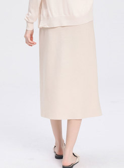 Elegant High Waist Single-breasted Knitted Skirt