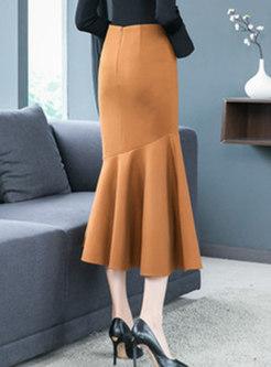 Elegant Woolen High Waist Long Mermaid Skirt