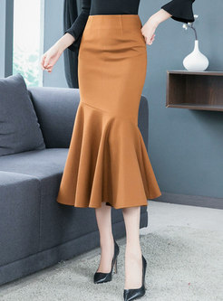 Elegant Woolen High Waist Long Mermaid Skirt