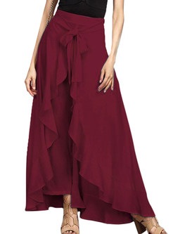 Stylish Solid Color Bowknot Tied High Waist Culottes