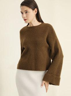 Fashion Crew-neck Woolen Long Sleeve Short Sweater
