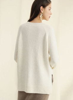 Casual Daily All-matched Split Hem Sweater