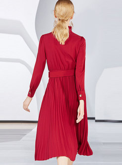 Red Half Turtle Neck Long Sleeve Belted A Line Dress