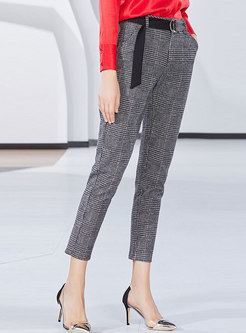 Fashion Work Daily Belted Plaid Pencil Pants