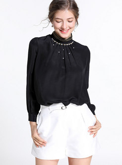 Black Standing Collar Long Sleeve Beaded Silk Blouse
