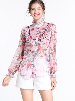 Trendy Pink Standing Collar Single-breasted Blouse