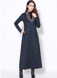 Winter Floral Print V-neck Slim Maxi Dress
