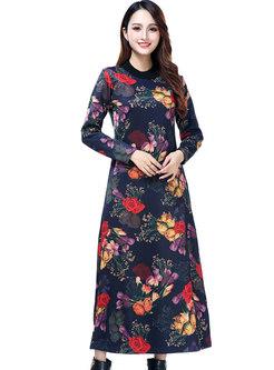 Winter Plus Size O-neck Print Maxi Dress