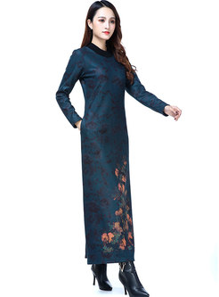 Vintage Splicing Print O-neck Slim Maxi Dress