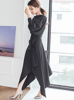Striped Puff Sleeve Belted Asymmetric Maxi Dress