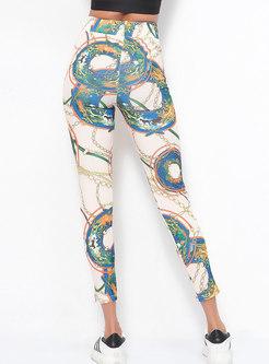 Stylish Print Elastic Waist Yoga Pants