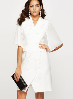 Trendy Notched Double-breasted Cloak Slim Dress
