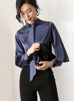 Elegant Stand Collar Tie Slim Blouse