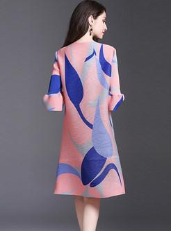 FashionO-neck Flare Sleeve Print Shift Dress