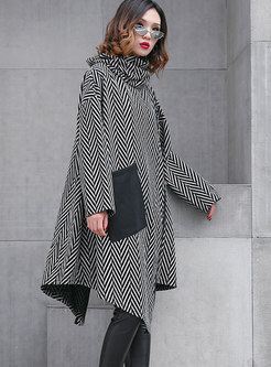 Stylish Turtle Neck Long Sleeve Striped Irregular Dress