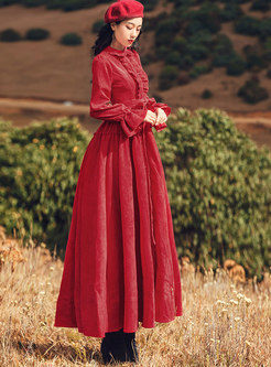 Wine Red Turn-down Collar Tie-waist Holiday Dress