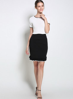 Chic Color-blocked High Waist Falbala Knitted Skirt