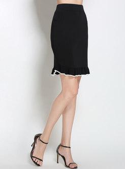 Chic Color-blocked High Waist Falbala Knitted Skirt