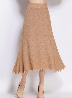 Stylish High Waist Tassel Patch Knitted A Line Skirt