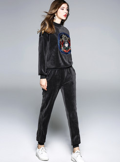 Casual O-neck Long Sleeve Animal Top & Harem Pants
