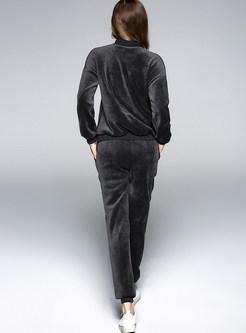 Casual O-neck Long Sleeve Animal Top & Harem Pants