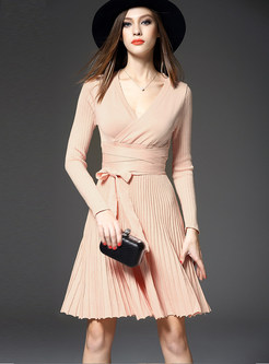V-neck Long Sleeve Tie-waist Pleated Skater Dress