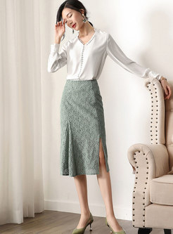 Elegant High Waist Slit Lace Skirt