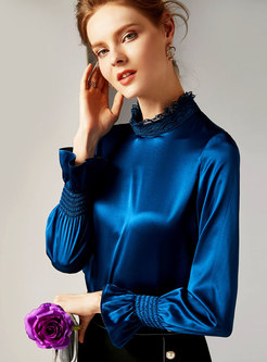 Chic Blue Solid Flare Sleeve Silk Slim Blouse