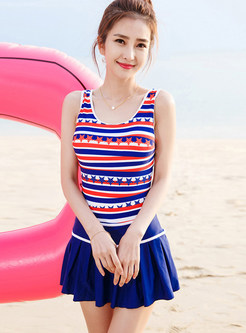 Fashion O-neck Striped Star Print One Piece Swimwear