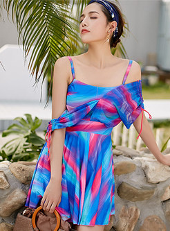 Color-blocked V-neck Tied Backless One Piece Swimwear