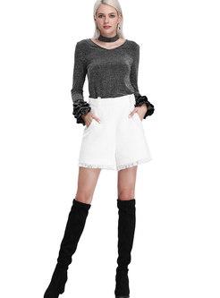 Fashion White High Waist Wide-leg Shorts