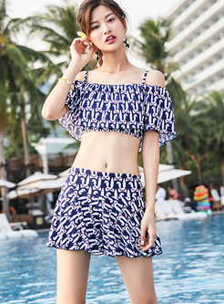 Trendy Slash Neck Print Tankini