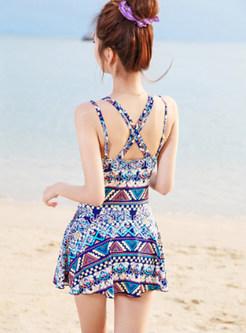 Fashion Print Backless Conservative Swimwear