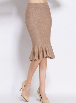 Chic High Waist Knee-length Falbala Knitted Skirt
