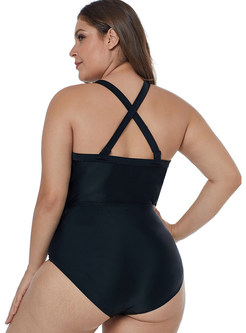 Sexy V-neck Plus Size Hollow Out One Piece Swimwear