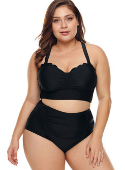 Plus Size High Waist Solid Color Tankini